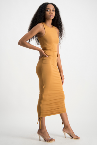 KAYLEE Side Ruche Dress - Brown Sugar