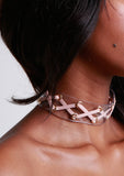 Crissy Criss Cross Clear Choker w/ Blush Suede