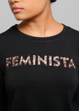Black Animal Printed FEMINISTA Long Sleeve Sweater