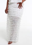 TAYLA White Fluffy Skirt w/ Side Slit