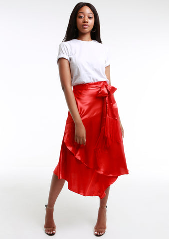 LINDI Red Panelled Satin Skirt w/ Fringe Tie