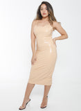 Nude ALKA Latex Bodycon Dress