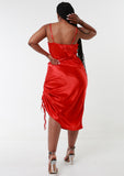 ROMY Red Ruche Detail Satin Dress