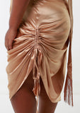 ROMY Stone Ruche Detail Satin Dress