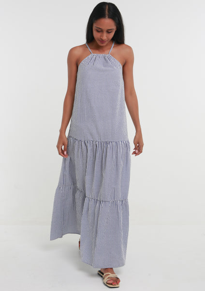 MPHO Stripe Seersucker Halter Maxi Dress