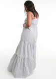 MARIA Grey/White Stripe Tiered Maxi Dress