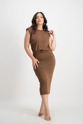 ZIYANDA Shoulder Pad Dress - Pinecone