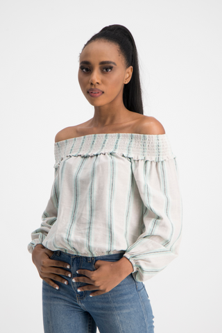 MOLLY Stripe Linen Off Shoulder Top