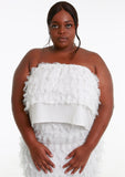 YAYA White Fluffy Boobtube Crop Top