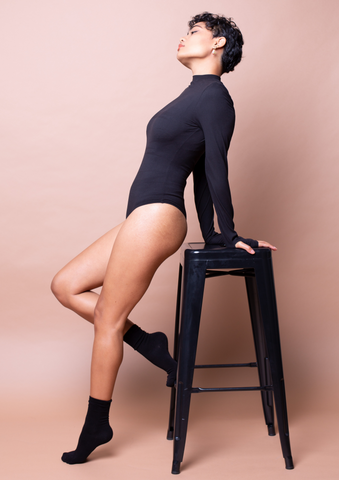 Lucy Long Sleeve Bodysuit - Black