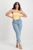 CHRISSY Asymmetrical Slinky Bodysuit - Yellow