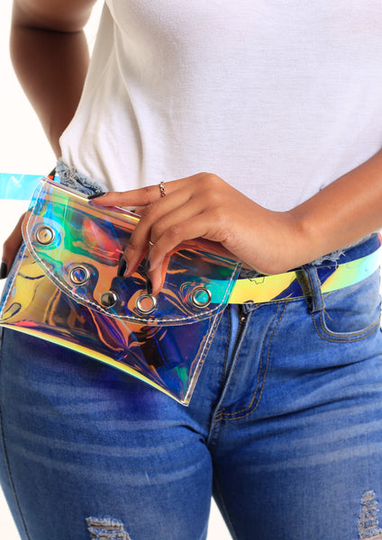 Holographic Eyelet Belt Bag