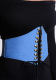 Blue Denim Corset Belt with Suede Ties