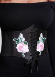 Black Rose Embroidery Corset Belt