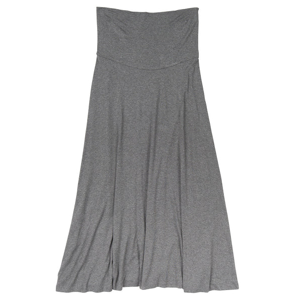 Long  T-shirt Skirt - Front View - Charcoal