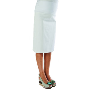 Bellyssima Stretch Cotton Pencil Skirt - White Color Swatch