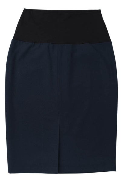 Straight Skirt with Back Kick Pleat - Back View - Navy