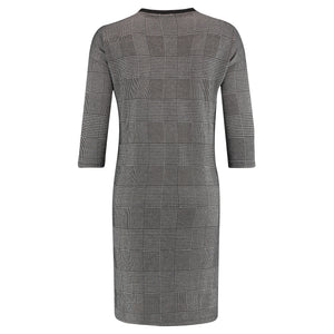 3/4 Sleeve Checked Dress
