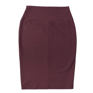 Seamed Pencil Skirt - Front View - Burgundy
