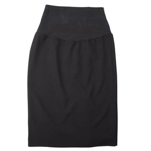 Straight Skirt with Back Kick Pleat - Front View - Black