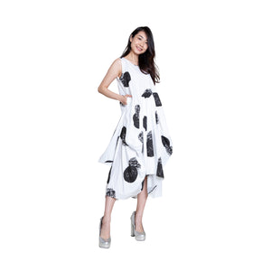 Printed Balloon Dress