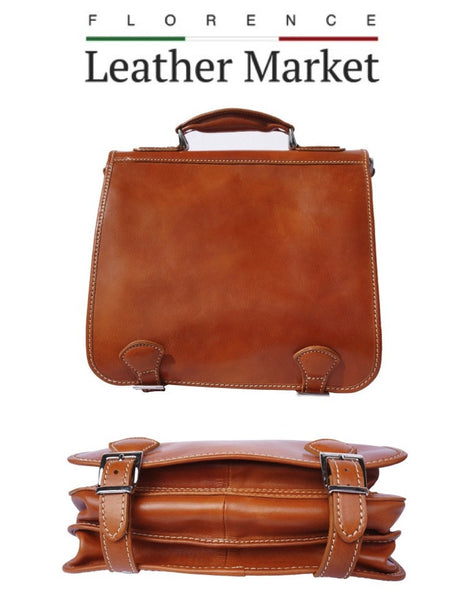 Florence Leather Market Italian Handmade Leather Briefcase In Tan