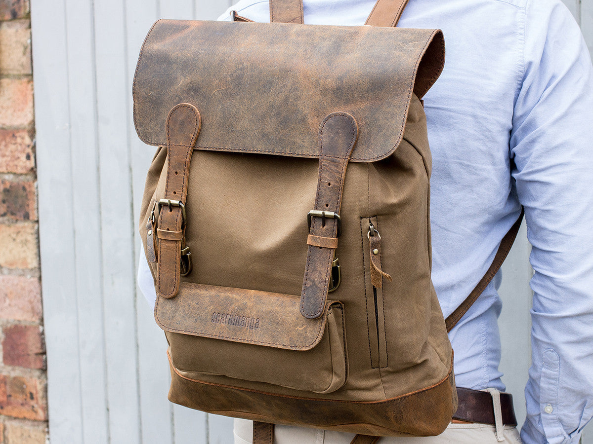 ... Scaramanga Mens Vintage Leather Canvas Large Backpack Style 14025 - Baked  Apple UK - 6 . a8fc361ad135e