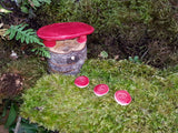 Faerie Bench with Stepping Stones - Red Red I