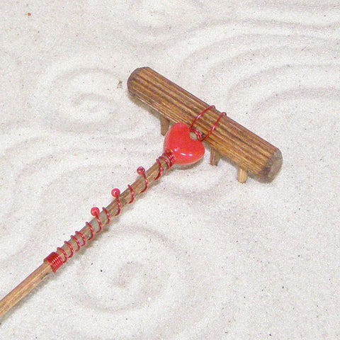 Mini Tabletop Zen Garden Rake - Heart Focal Bead