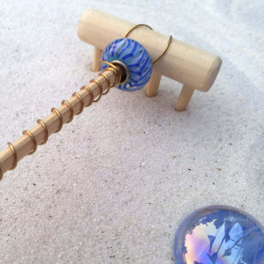 Mini Tabletop Zen Garden Rake - Salt Water Taffy - Murano Bead