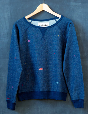 Asteria Indigo Embroidered Sweatshrt