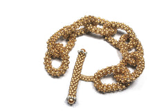 Brushed Gold Beaded Chain Link Bracelet -  - 1