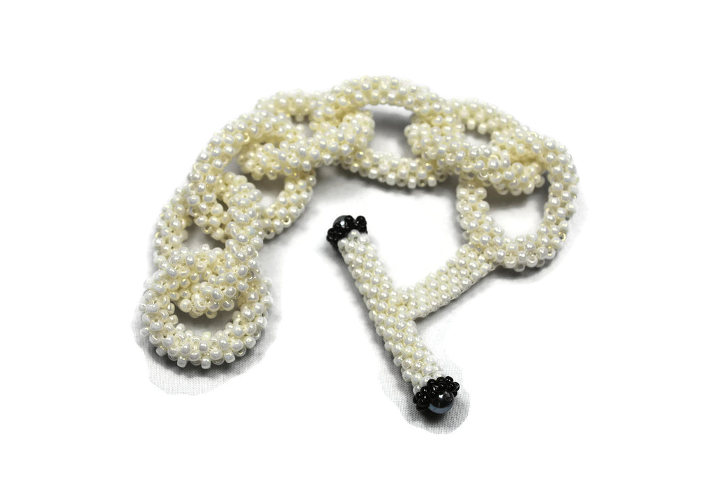 Cream Beaded Chain Link Bracelet -  - 1