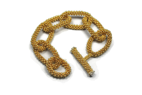 Gold Beaded Chain Link Bracelet