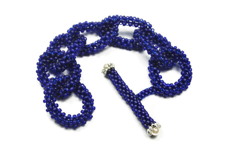 Matte Cobalt Blue Beaded Chain Link Bracelet