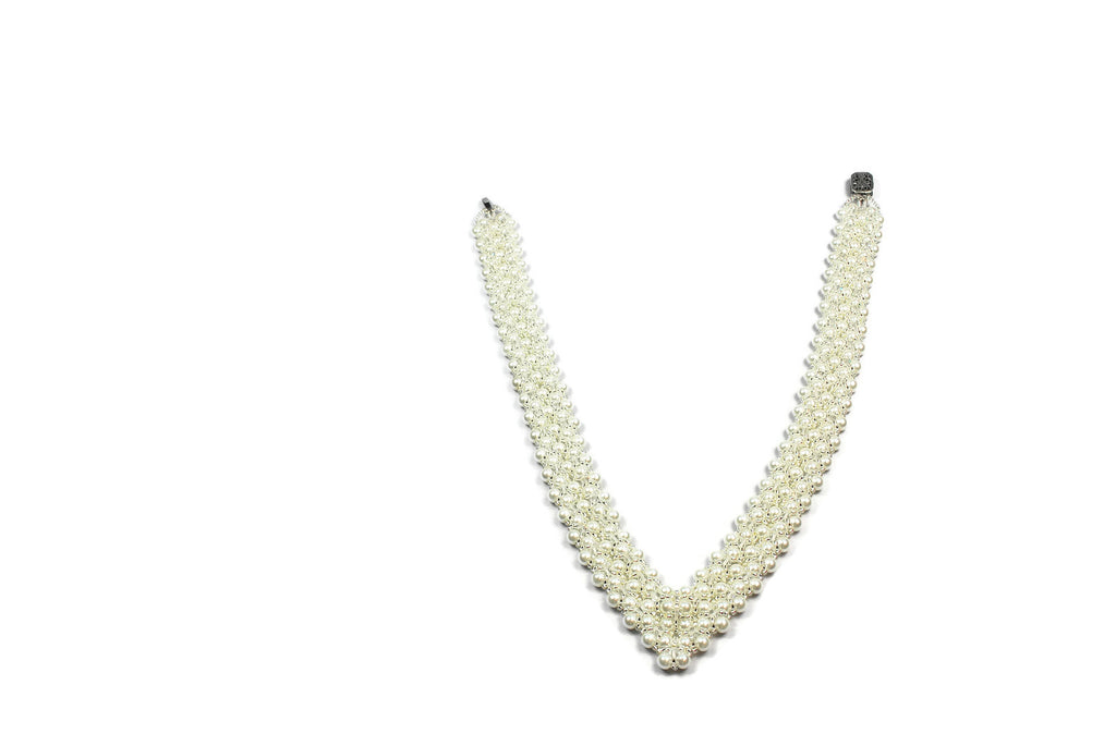 White Pearl and Crystal Bridal Necklace - Susanne Ferrante - 1