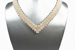 Creamrose Pearl and Crystal Bridal Necklace -  - 3
