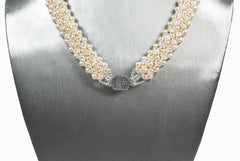Creamrose Pearl and Crystal Bridal Necklace -  - 4