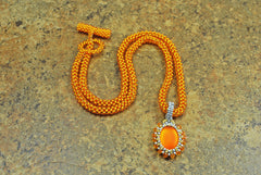 Bright Neon Orange Pendant and Beaded Necklace -  - 4