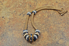 Bronze and Sapphire Beaded Necklace with Pearl and Crystal Beaded Beads -  - 3