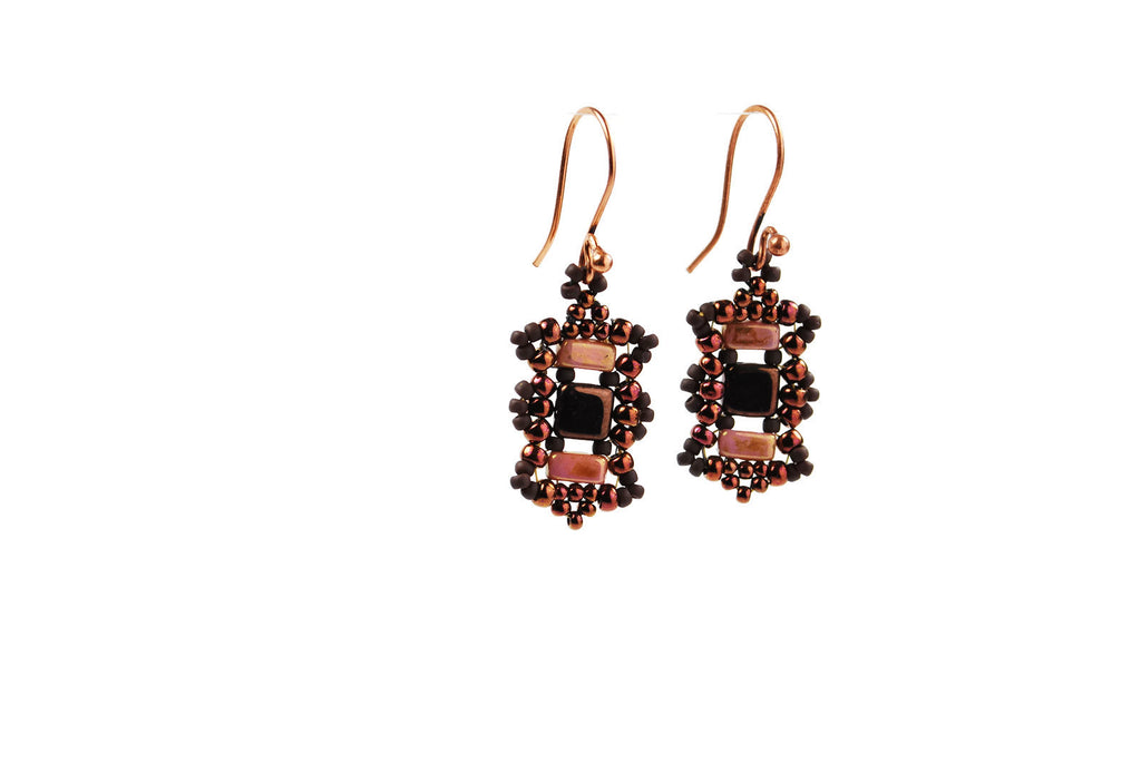 Copper Pink and Brown Beaded Earrings -  - 1