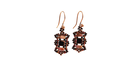 Copper Pink and Brown Beaded Earrings