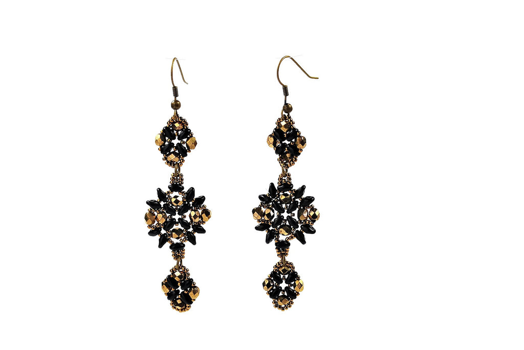 Bronze and Black Sparkly Beaded Earrings -  - 1