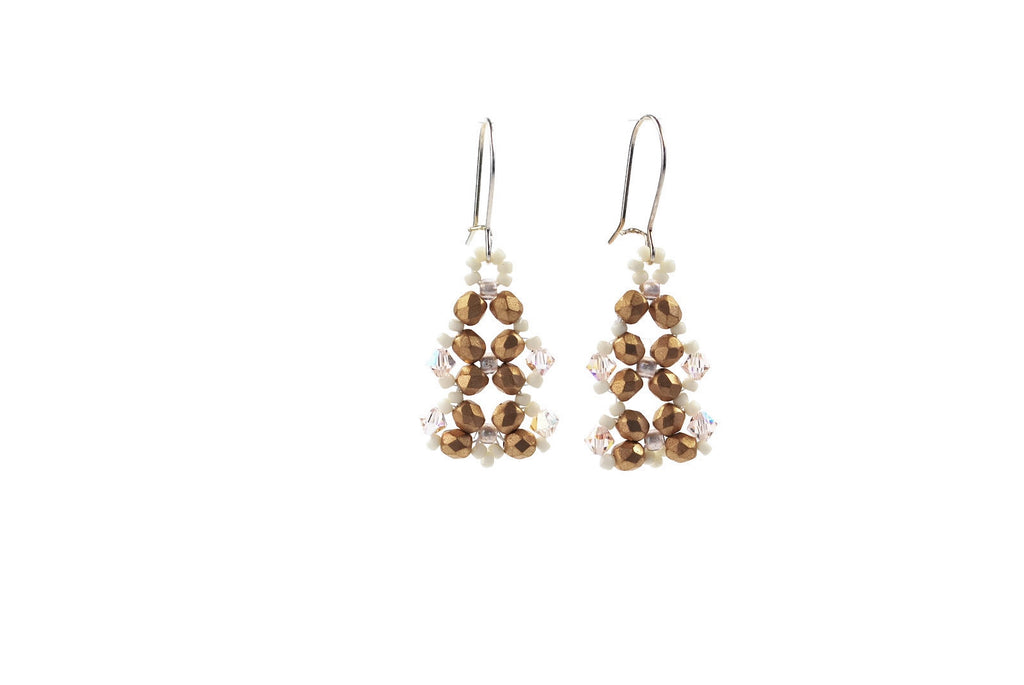 Brushed Gold and Crystal Earrings -  - 1