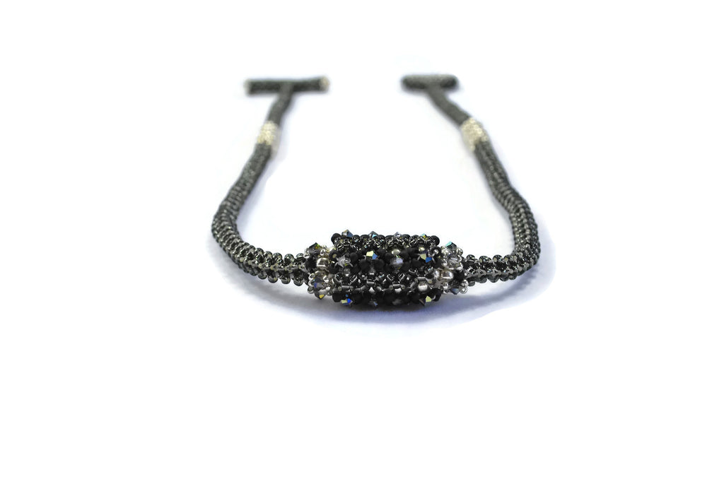 Black Silvery Beaded Bead Necklace -  - 1