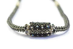 Black Silvery Beaded Bead Necklace -  - 2