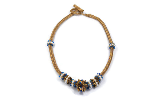 Bronze and Sapphire Beaded Necklace with Pearl and Crystal Beaded Beads