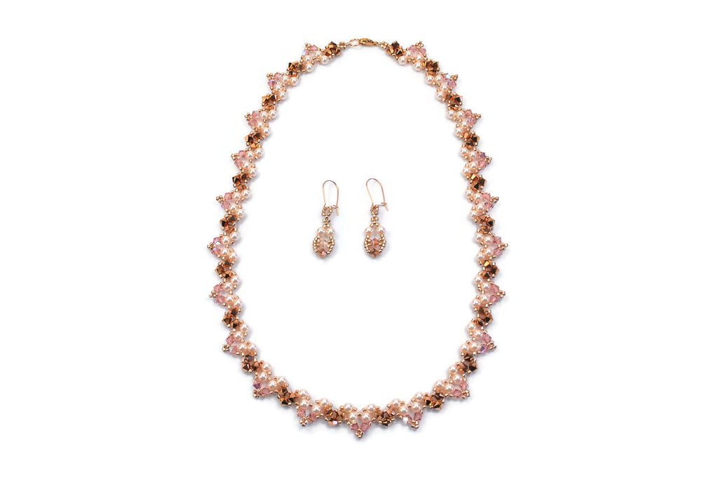 Pink Gold Pearl and Crystal Necklace with Earrings -  - 1