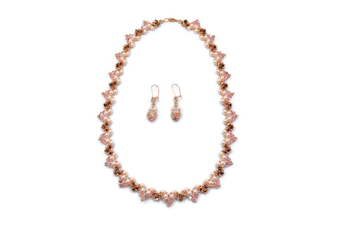 Pink Gold Pearl and Crystal Necklace with Earrings