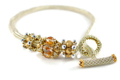 Silver Beaded Chain with Gold Beaded Beads - Susanne Ferrante - 2